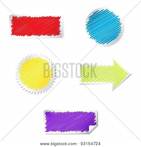 Color labels set with scribble effect. Isolated on white backgro