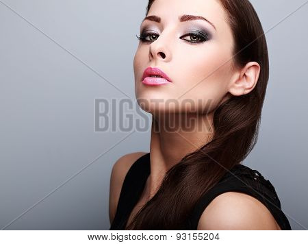Sexy Perfect Makeup Woman Looking With Smoky Eyes And Pink Lips