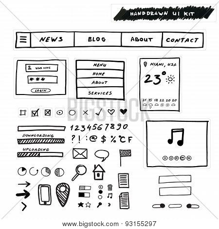 Hand drawn Ui Kit. Design for websites, apps and interface