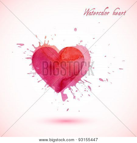Vector abstract watercolor heart with splashes.