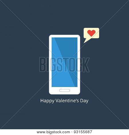Phone with massage. Speech bubble with red heart. Valentines day