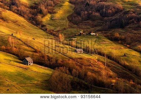 Autumn evening. The last rays of the sun fall on the slopes