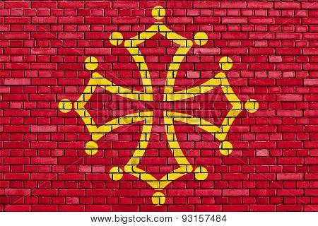 Flag Of Midi-pyrenees Painted On Brick Wall