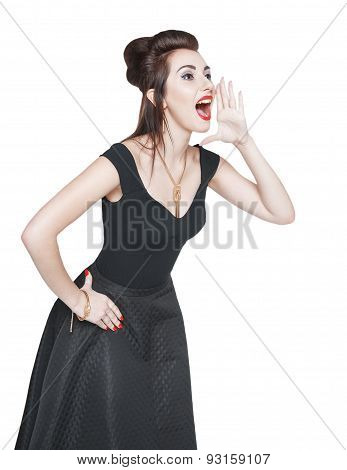 Young Beautiful Woman In Retro Pin Up Style Shouting With Her Hand