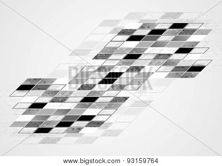 Abstract black white tech geometric corporate background. Vector design