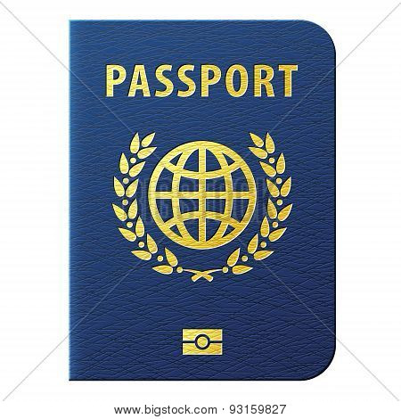 Blue Passport Isolated On White Background