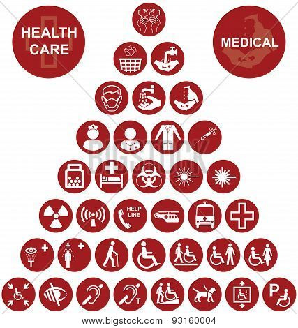 Medical and health care red Icon collection