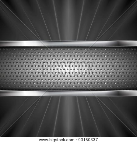 Metallic aluminum perforated banner and dark beams. Vector steel design