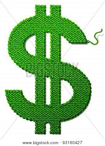 Dollar Symbol Of Knitted Fabric Isolated On White Background