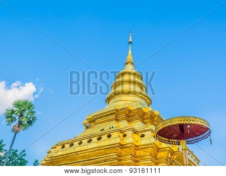 Old Temple With White Cloud And Blue Sky