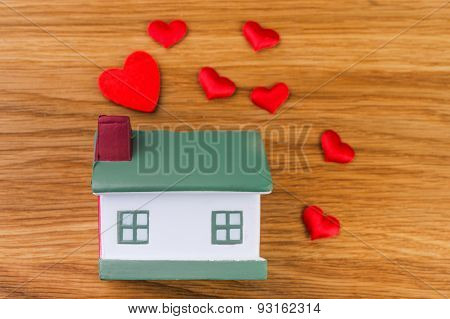house with red heart