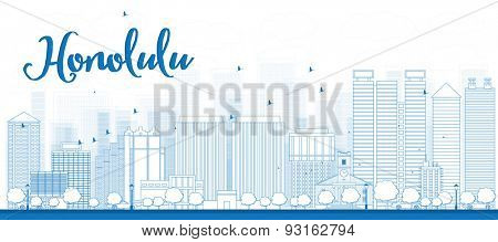 Outline Honolulu skyline with grey buildings and blue sky. Hawaii. Vector illustration