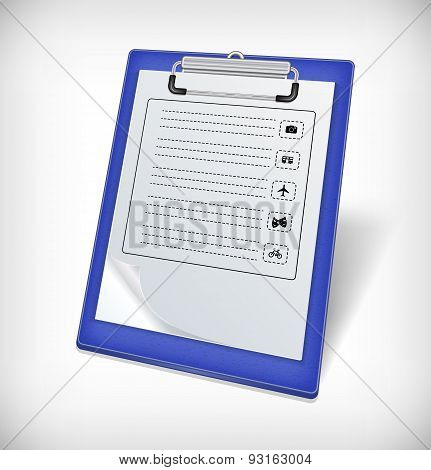 Clipboard With Tourist Icons