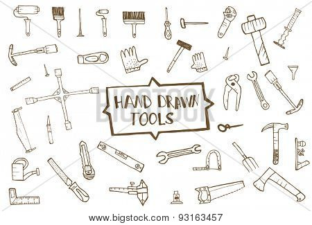 Hand drawn tool icons set, isolated. Vector illustration
