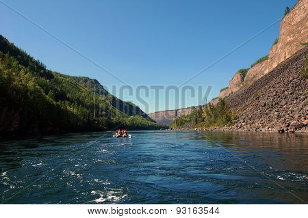 Catamarans in the river Kyzyl-Khem canyon.