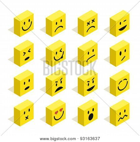 Flat Isometric Emoticons Set Illustration