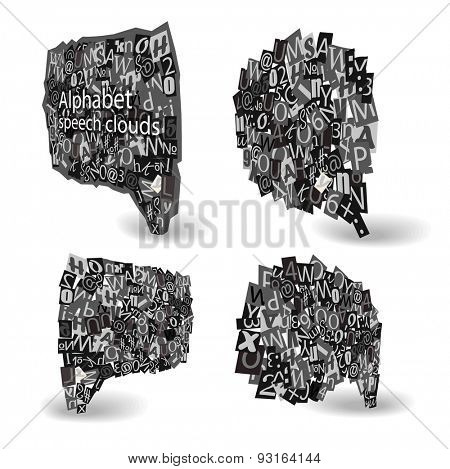 Black talking bubbles of letters from newspaper and magazines in perspective. Raster version