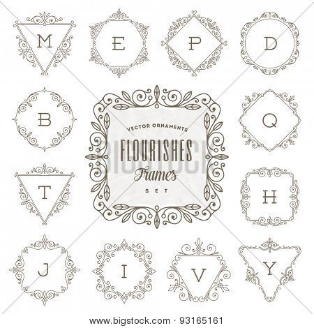 Set of monogram logo template with flourishes calligraphic elegant ornament frames - Vector illustration