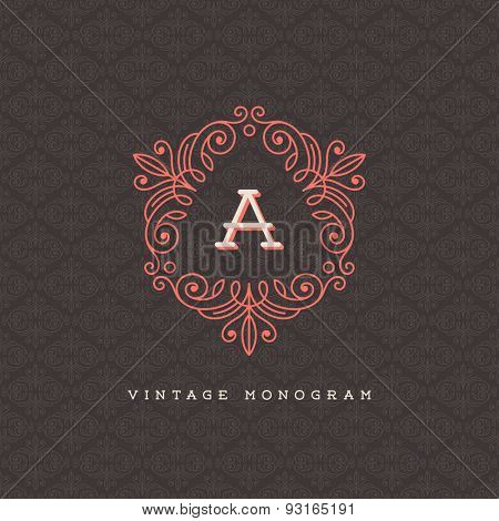 Vector vintage monogram logo template - flourishes calligraphic frame with letter on a ornamental pattern background