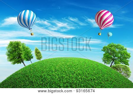 Colorful hot air balloons with a summer background
