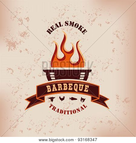 Barbecue BBQ logo with flames