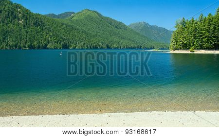 Lake Cushman Beach In Summer