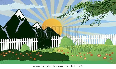 Ilustration of a rural landscape in a calm and tranquil environment
