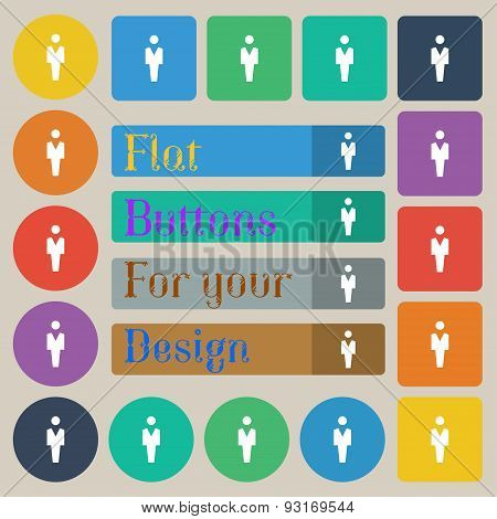 Human, Man Person, Male Toilet  Icon Sign. Set Of Twenty Colored Flat, Round, Square And Rectangular