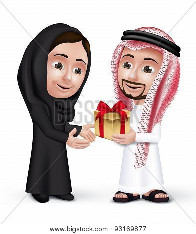 Realistic Saudi Arab Man Wearing Thobe Giving  Golden Gift