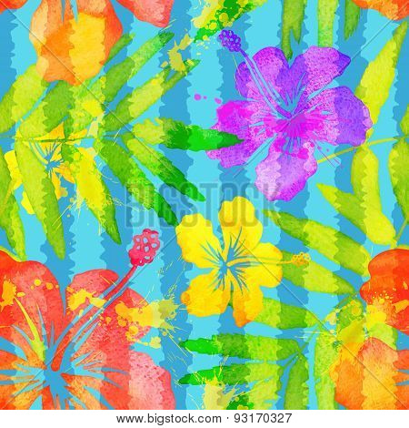 Bright vivid colors watercolor tropical flowers seamless pattern with grunge vertical stripes