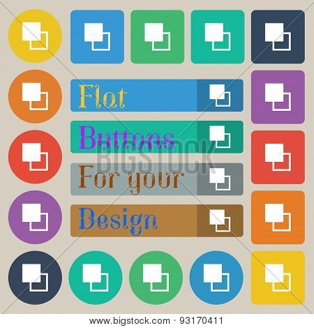 Active Color Toolbar  Icon Sign. Set Of Twenty Colored Flat, Round, Square And Rectangular Buttons.