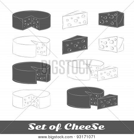 Set Of Silhouettes Cheese