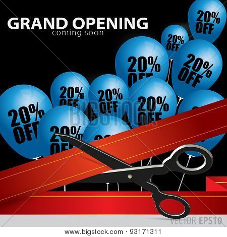 Shop Grand Opening - Cutting Red Ribbon. .balloons With 20 Percent Discount