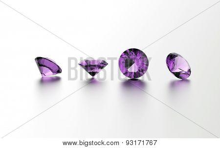 Gemstone on white. Jewelry background. Amethyst