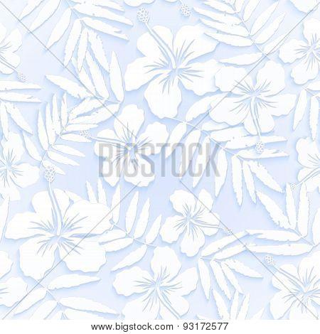 White cutout paper flowers seamless pattern