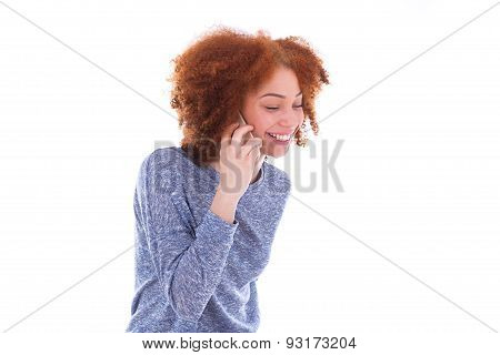 Young Black African American Woman Making A Phone Call On Her Smartphone - Black Teenager People