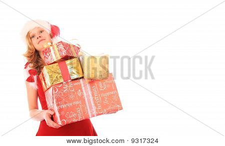 Miss Santa Is Carrying Too Many Presents - White Space On The Right