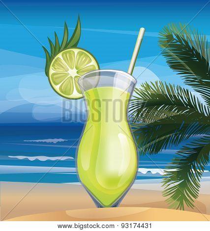 Tropic exotic cocktail on ocean beach