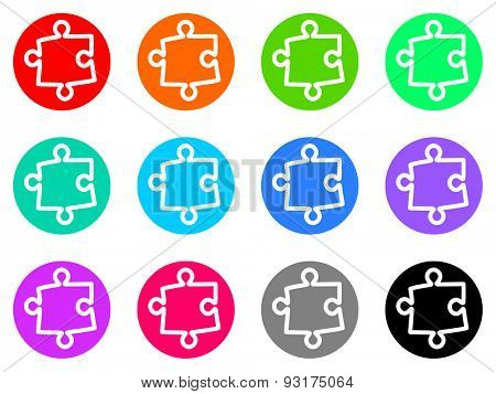 puzzle vector web icons set