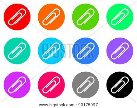 paperclip vector web icons set