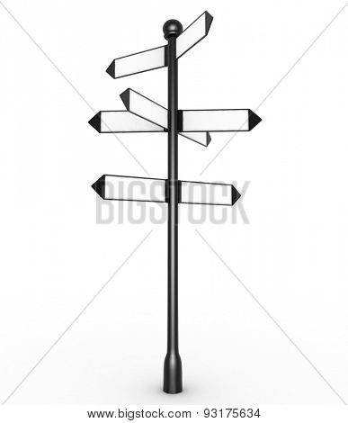Direction sign with empty arrows isolated on white background