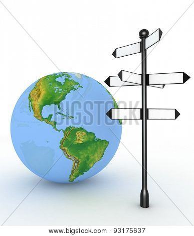 Direction sign with empty arrows and globe on white background