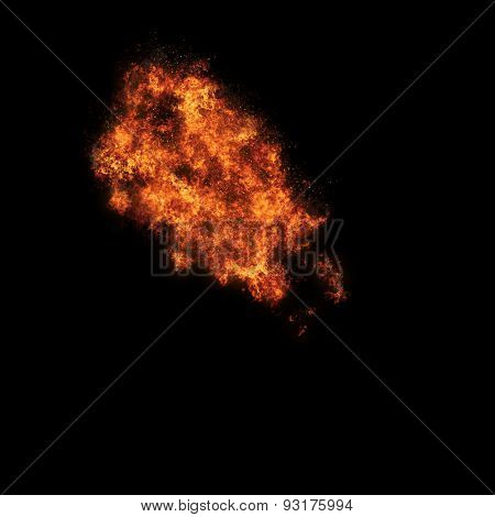 Realistic fiery explosion busting over a black background.