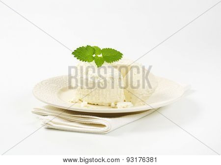 fresh curd cheese and mint on white plate and place mat