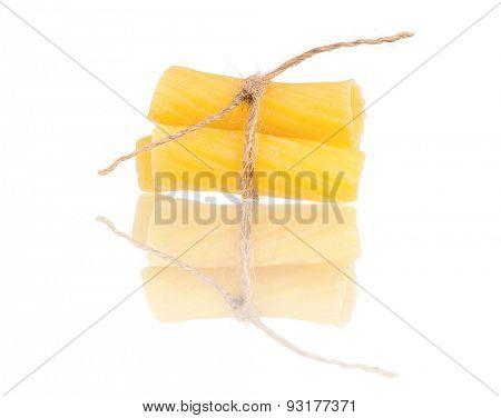 Close up raw pasta isolated on white background