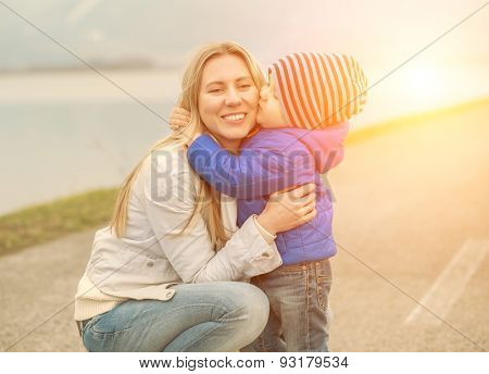 Happiness Mother and son funning outdoor