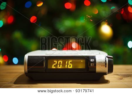 Led display of alarm clock with 2016 new year