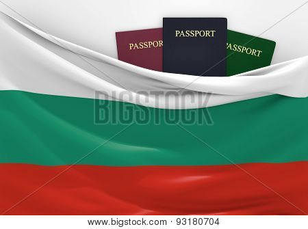 Travel and tourism in Bulgaria, with assorted passports