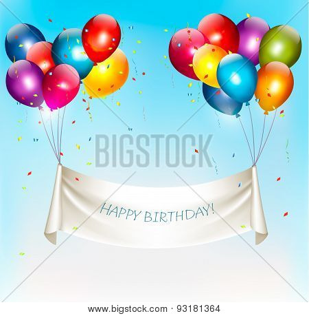 Holiday Birthday Banner With Colorful Balloons And Confetti. Vector.