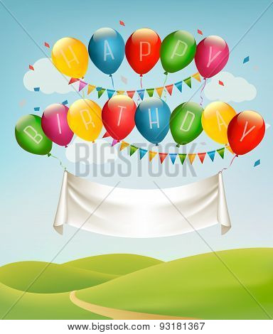 Happy Birthday Banner With Balloons And Landscape. Vector. Vector.